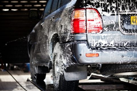 wet soapy car